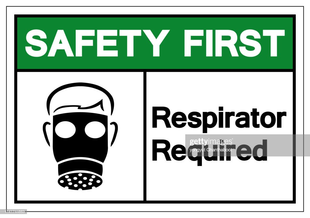 Safety First Respirator Required Symbol Sign, Vector Illustration, Isolate On White Background Label. EPS10