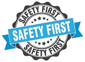 safety first stamp. sign. seal