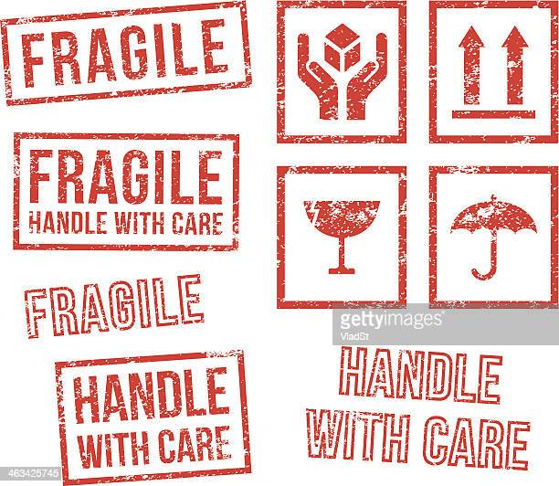 safety fragile - rubber stamps - fragility stock illustrations