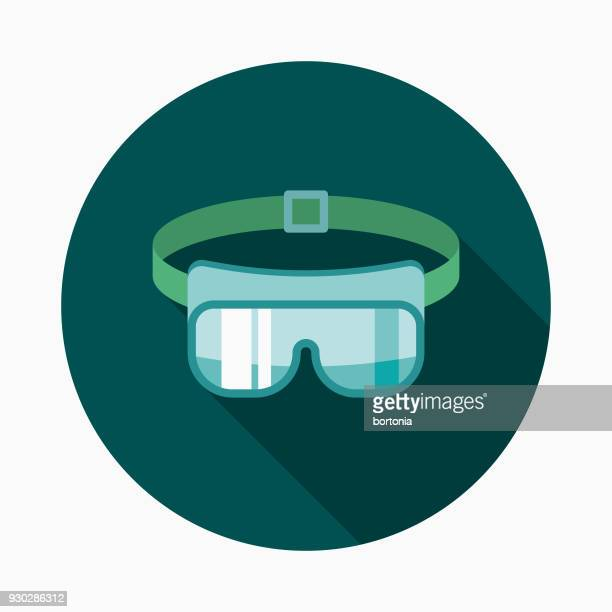 Safety Glasses Flat Design Dentist Icon with Side Shadow