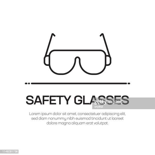 safety glasses vector line icon - simple thin line icon, premium quality design element - protective eyewear stock illustrations