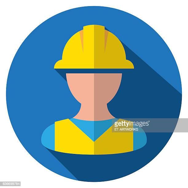 ilustrações, clipart, desenhos animados e ícones de safety helmet icon - trabalhador de construção