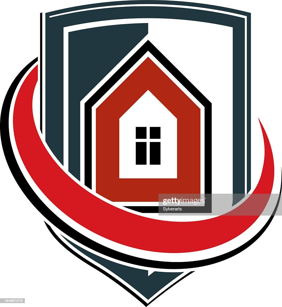 Safety idea, abstract vector heraldic symbol with house.