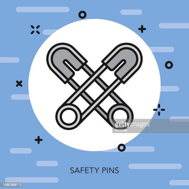 Safety Pins Thin Line Sewing Icon