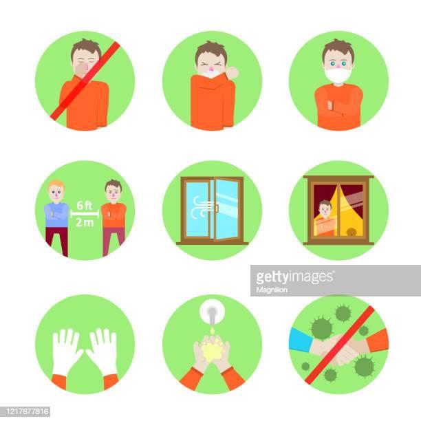 ilustrações de stock, clip art, desenhos animados e ícones de safety precautions and prevention of colds, vector illustrations in flat design style - aplanar a curva