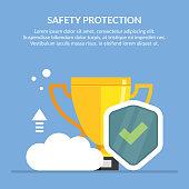 Safety protection concept illusustration. The best protection of personal data. Cup for the championship. Flat vector image for blue background.