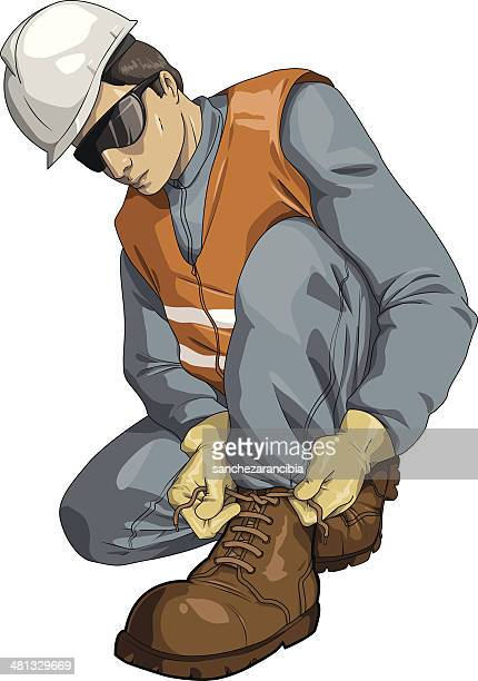 safety shoe - protective workwear stock illustrations, clip art, cartoons, & icons