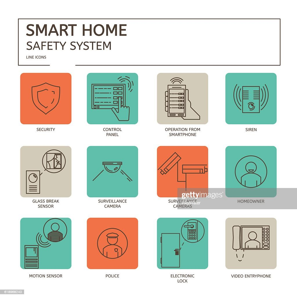 Safety System - line icon set