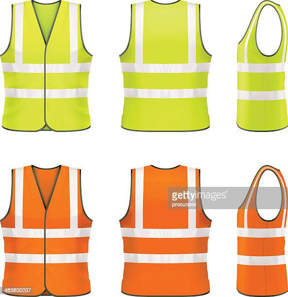safety vest - protective workwear stock illustrations, clip art, cartoons, & icons