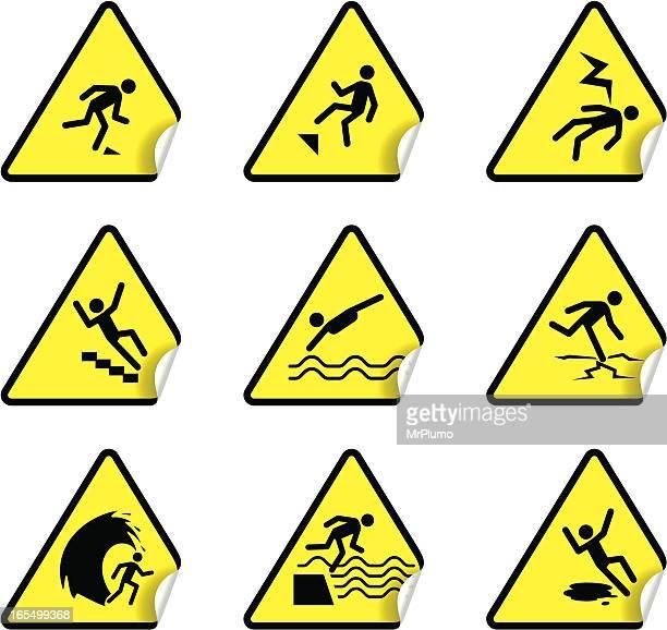 ilustraciones, imágenes clip art, dibujos animados e iconos de stock de pegatina de advertencia de seguridad, juego de 3 - stealth