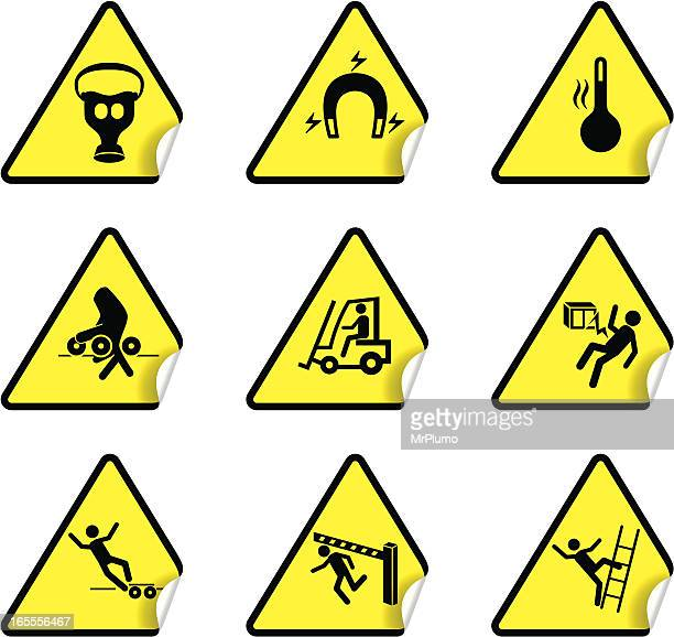 safety warning sticker set 5 - occupational safety and health stock illustrations, clip art, cartoons, & icons