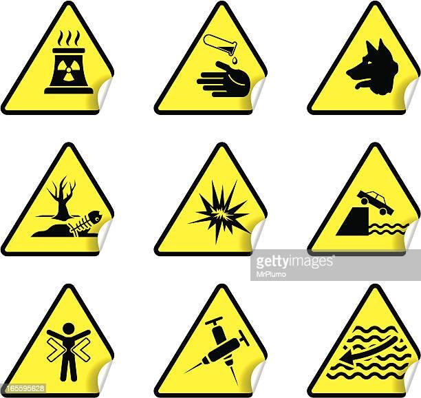 safety warning sticker set 8 - dead dog stock illustrations