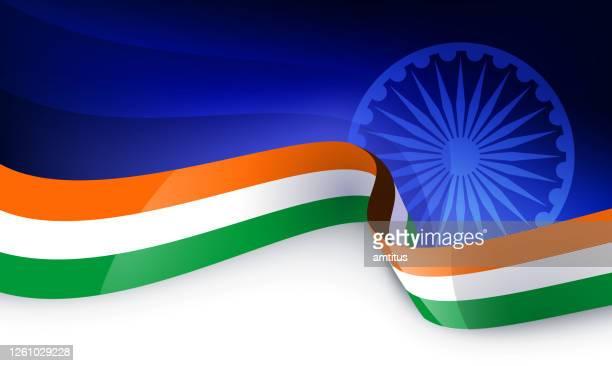 saffron flag - indian flag stock illustrations