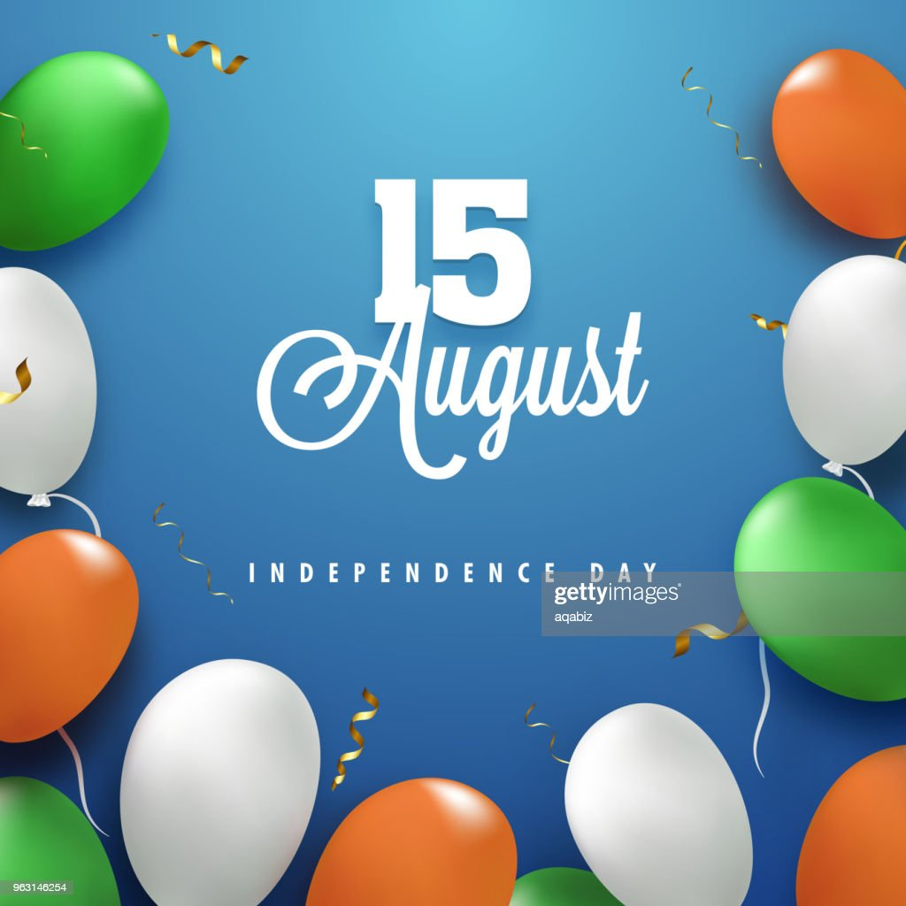 Saffron, white and green balloons on blue background. 15th August, Indian Independence Day celebration concept.