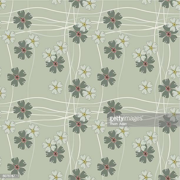Sage flowers and stripes (Seamless pattern kimono style)