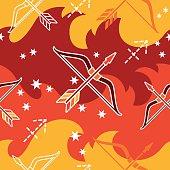 Sagittarius - Zodiac seamless pattern