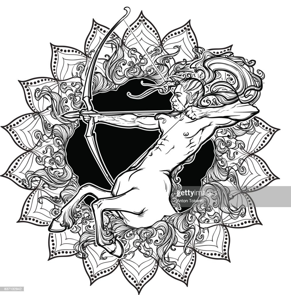 Sagittarius Zodiac sign with a decorative frame of sun flares and sunflower petals. Astrology concept art. Tattoo design. Gay Pinup style. Linear drawing isolated on white background.