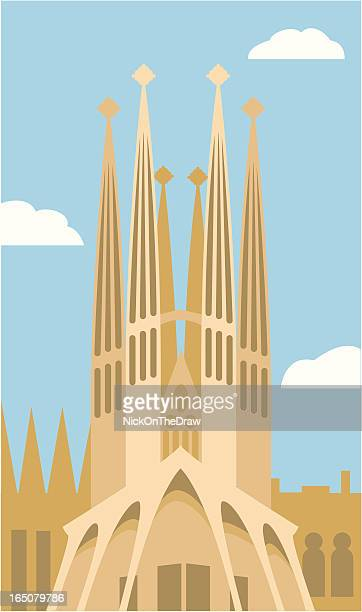 sagrada familia in barcelona, spain - spire stock illustrations, clip art, cartoons, & icons