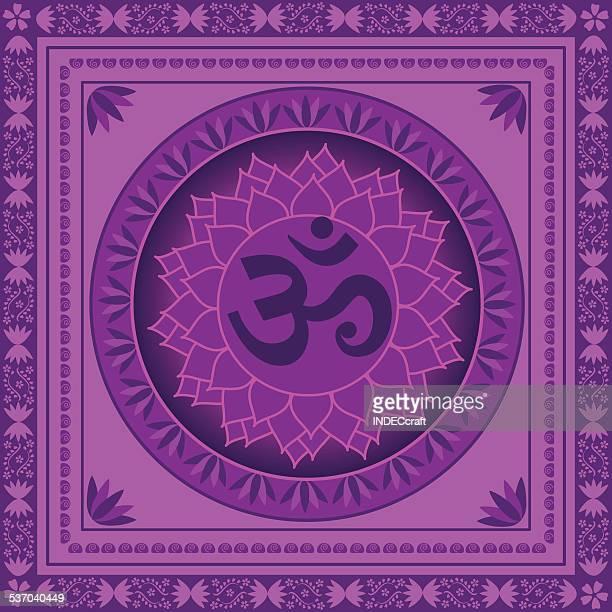 sahasrara chakra - om symbol stock illustrations