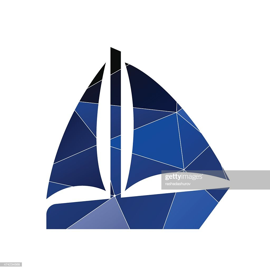 sail boat icon Abstract Triangle