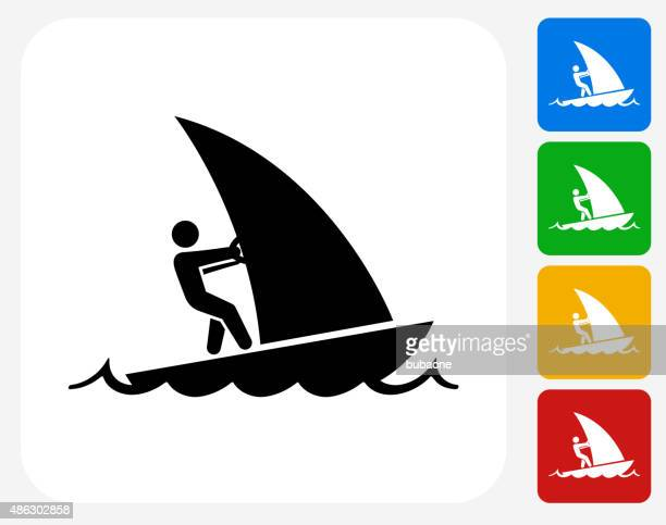 sail boat icon flat graphic design - motorboating stock illustrations, clip art, cartoons, & icons