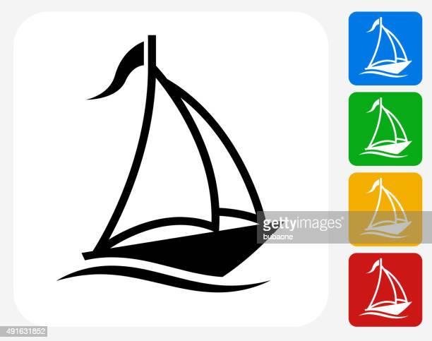 Sail Boat Icon Flat Graphic Design