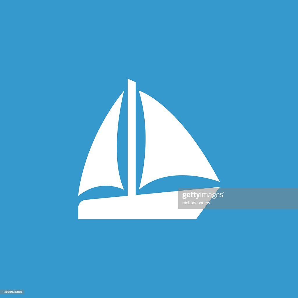 sail boat icon, isolated, white on the blue background