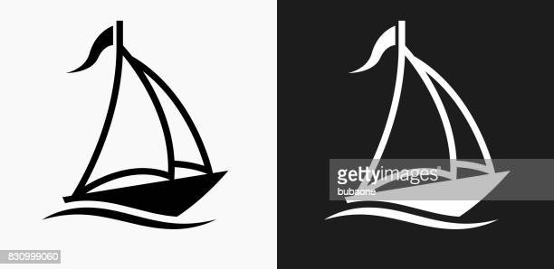 Sail Boat Icon on Black and White Vector Backgrounds