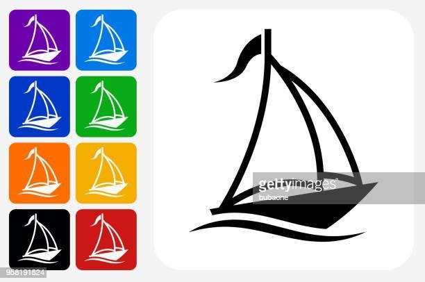 Sail Boat Icon Square Button Set