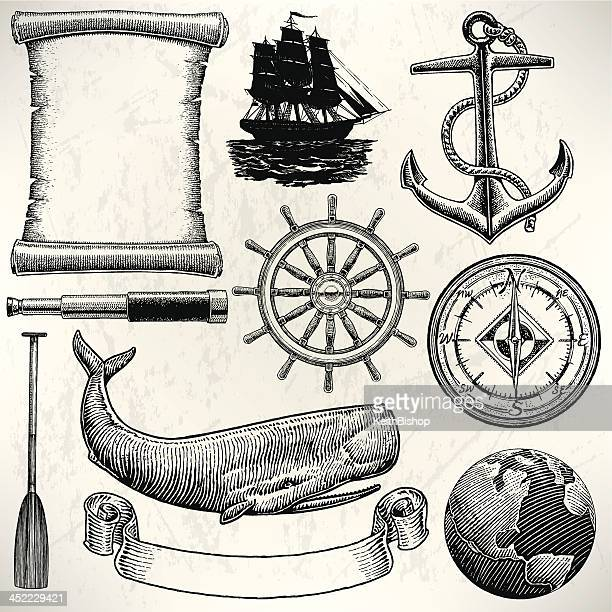 sail boat - old world sailing discovery nautical equipment - wheel stock illustrations, clip art, cartoons, & icons