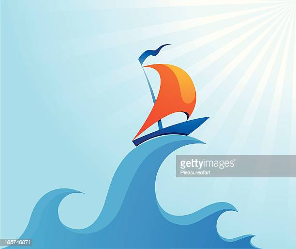 Sail boat on high ocean wave illustration
