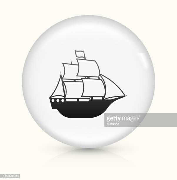 sail ship icon on white round vector button - sail stock illustrations, clip art, cartoons, & icons