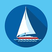 Sail Yacht Boat Flat Icon Vector