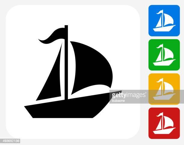 Sailboat Icon Flat Graphic Design