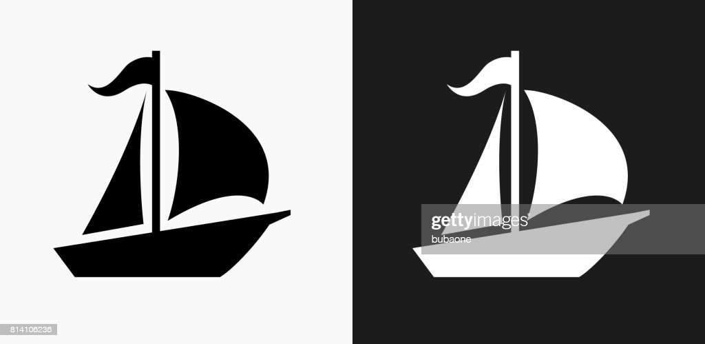Sailboat Icon on Black and White Vector Backgrounds