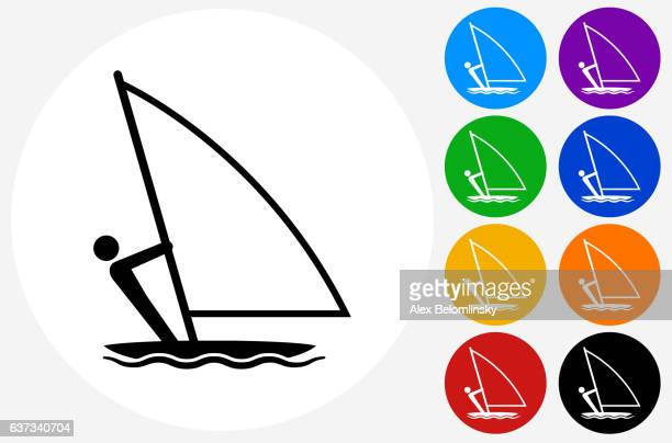 Sailboat Icon on Flat Color Circle Buttons