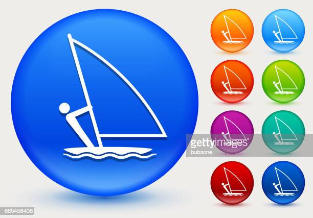 Sailboat Icon on Shiny Color Circle Buttons