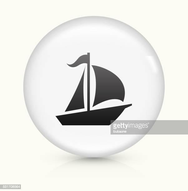 Sailboat icon on white round vector button