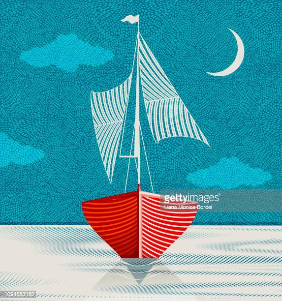 sailboat in the middle of the night - nautical vessel stock illustrations
