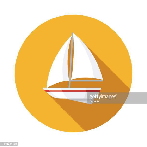 sailboat nautical flat design icon - long shadow design stock illustrations