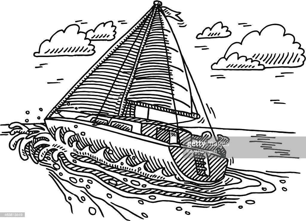 Dessin De Voilier Sur Locean Illustration Getty Images