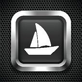Sailboat on Black Square Button