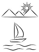 Sailboat on the waves against the rising sun from the mountains, oriental style, monochrome pattern on a transparent background