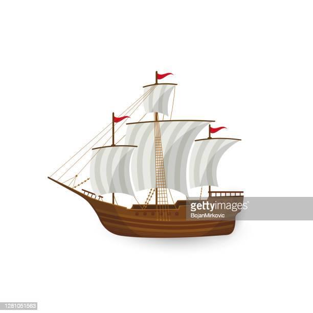 白い背景にヨット。ベクトル - 帆船点のイラスト素材/クリップアート素材/マンガ素材/アイコン素材