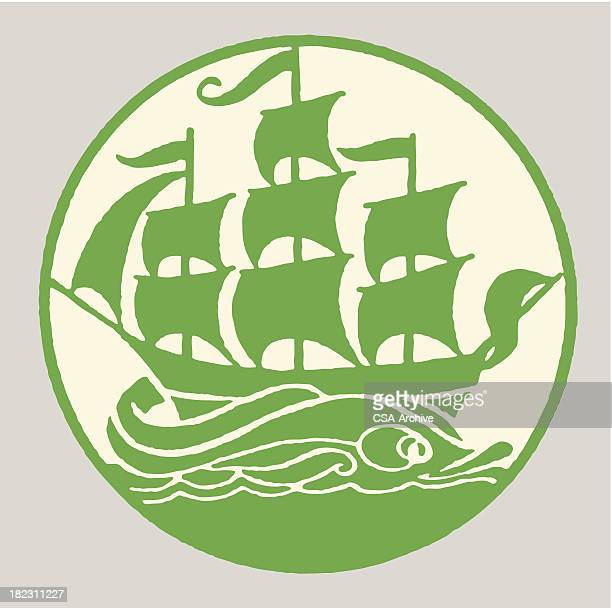 sailboat - brigantine stock illustrations, clip art, cartoons, & icons