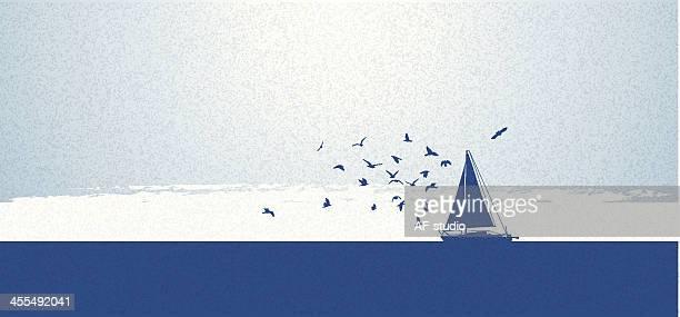帆船 - 海洋性の鳥点のイラスト素材/クリップアート素材/マンガ素材/アイコン素材
