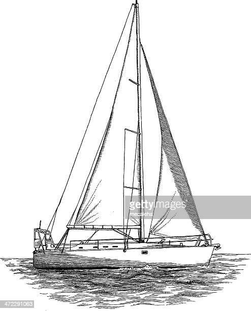 illustrations, cliparts, dessins animés et icônes de bateau à voile - voilier noir et blanc
