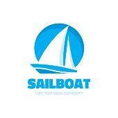 Sailboat - vector sign concept illustration. Ship sign.