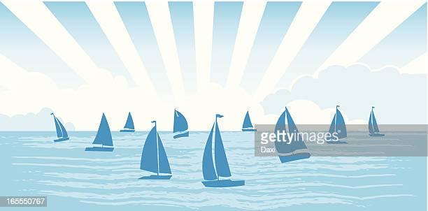 sailboats on the sea - sailing boat stock illustrations, clip art, cartoons, & icons