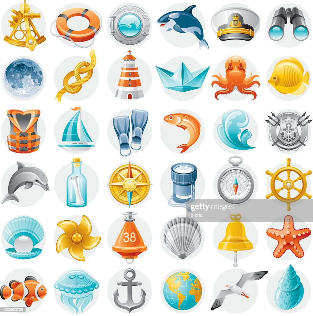 Sailing icon set